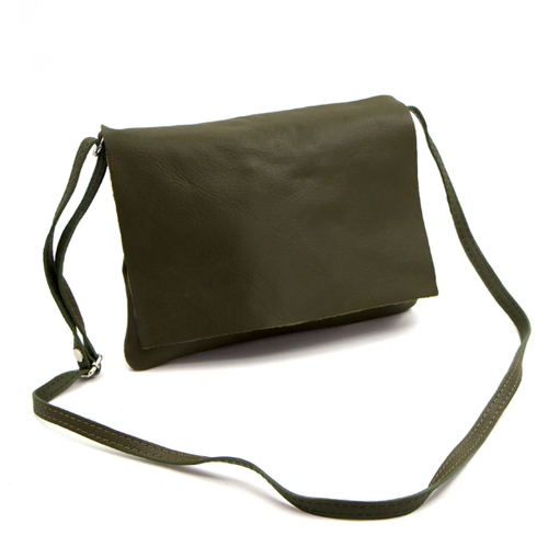 Khaki Italian leather classic cross body bag tempest design
