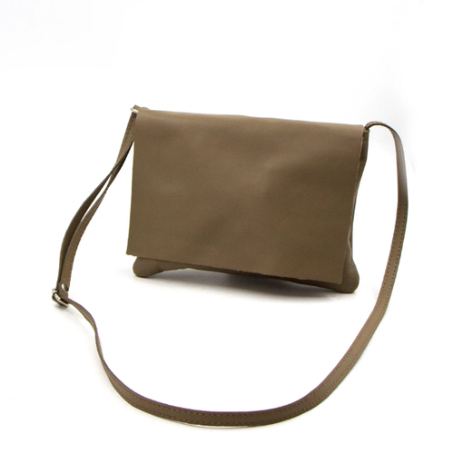 Taupe Italian leather classic cross body bag