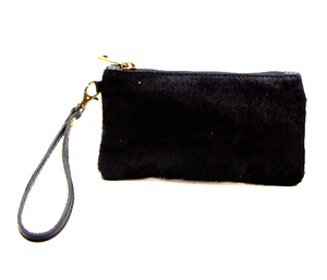 Black Italian leather clutch purse with hand strap tempest designs