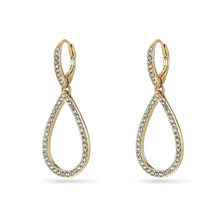 Load image into Gallery viewer, Delia gold plated crystal pendant earrings