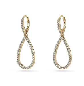 Delia gold plated crystal pendant earrings