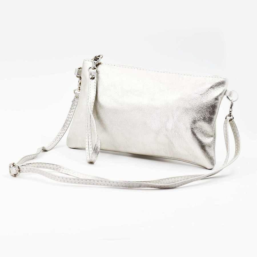 Silver metallic leather clutch