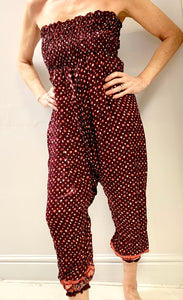 Wine red patterned silk pants