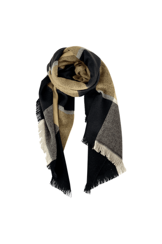 Black Colour Denmark Lena Chunky Check Scarf | Sand
