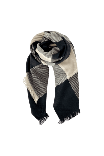 Black Colour Denmark Lena Cosy Chunky Check Scarf | Grey