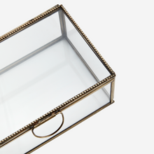 Load image into Gallery viewer, Large Brass and Glass Trinket Box