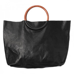 Black leather shopper with circular wooden handles
