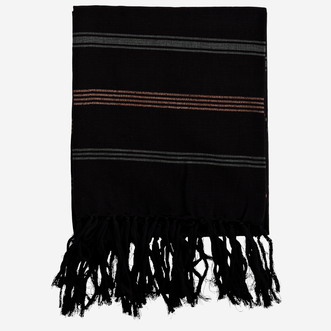 Black Cotton Hammam Towel With Copper Detail
