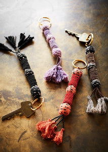 Beaded keyring with tassels