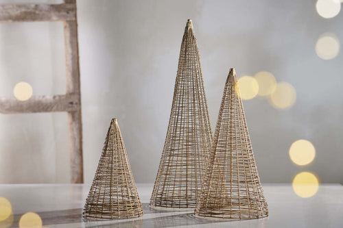 Handmade brass wire conical tree