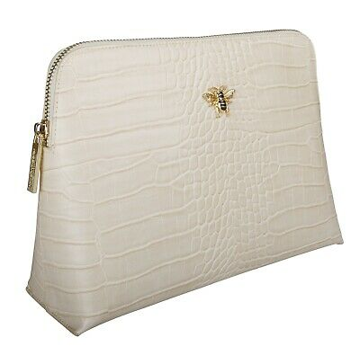 Alice Wheeler London Cream faux crocodile beauty case
