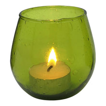 Load image into Gallery viewer, Green glass votive 7.5 X 7.5 cm made from recycled glass