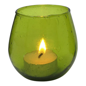Green glass votive 7.5 X 7.5 cm made from recycled glass