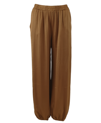 Black Colour Denmark Zita balloon satin pants | Bronze