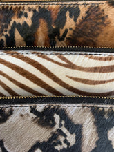 Load image into Gallery viewer, Cheetah print Italian leather clutch purse with hand strap