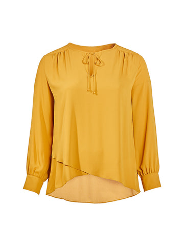 Tie Neck Mustard Crossover Blouse