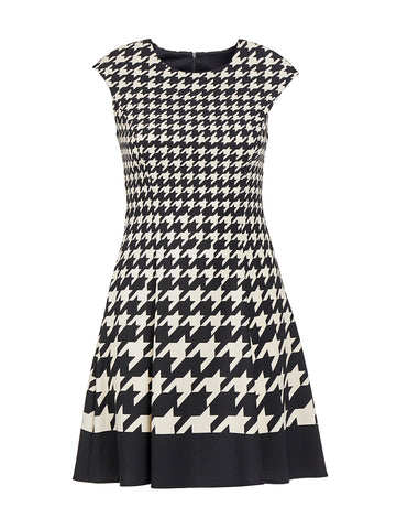 Black and Ivory Houndstooth Fit-and-Flare Dress