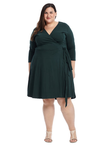 V-Neck Green True Wrap Dress