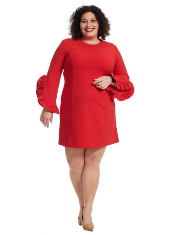Bell Sleeve Red Shift Dress