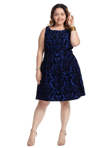 Velvet Flocked Damask Fit And Flare Dress