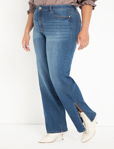 Slit Hem Jean in Medium Wash