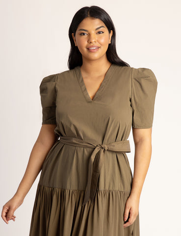 Puff Sleeve Midi Dress in Best Frond