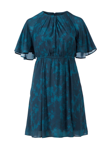 Tie-Dye Floral Teal Dress