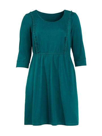 Ruffle Detail Deep Green Dress