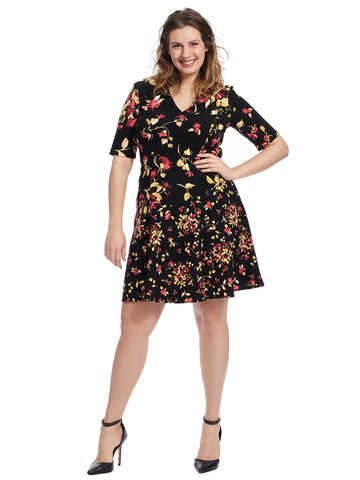 Floral Scuba Crepe Fit And Flare Dress