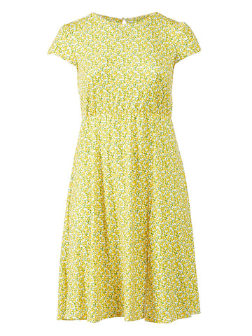 Cap Sleeve Yellow Print Dress