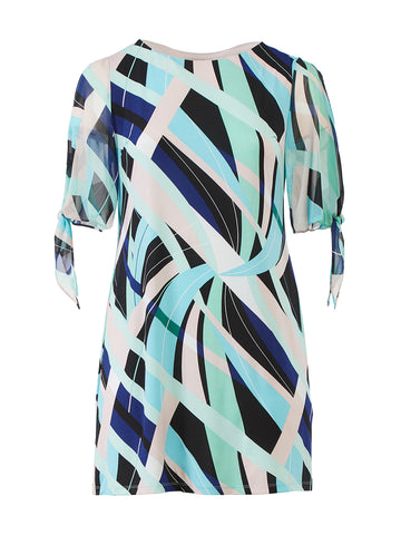 Sleeve Detail Navy Print Shift Dress