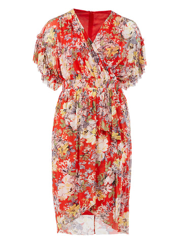 Surplice Red Floral Dress
