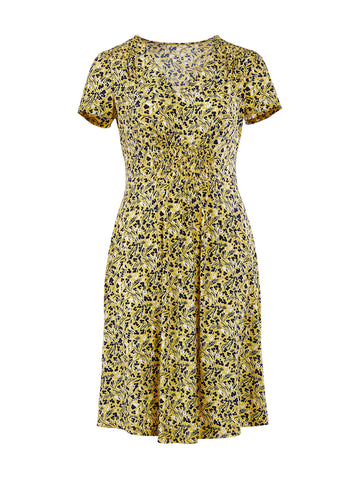 V-Neck Yellow Floral Dress
