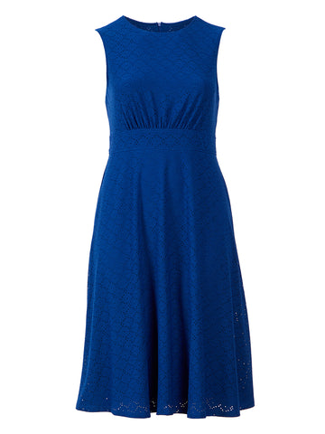 Daisy Knit Blue Eyelet Dress