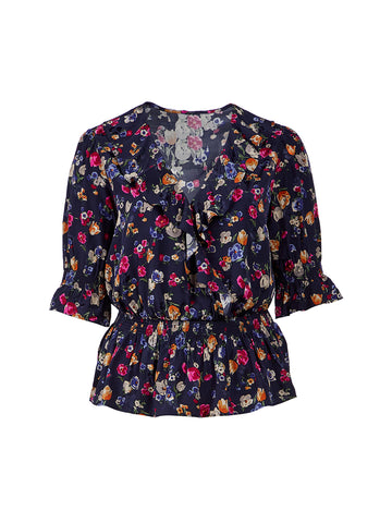 French Navy Floral Helzira Top