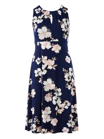 Key Hole Detail Navy Floral Dress