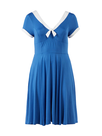 Contrast Trim Blue Dress
