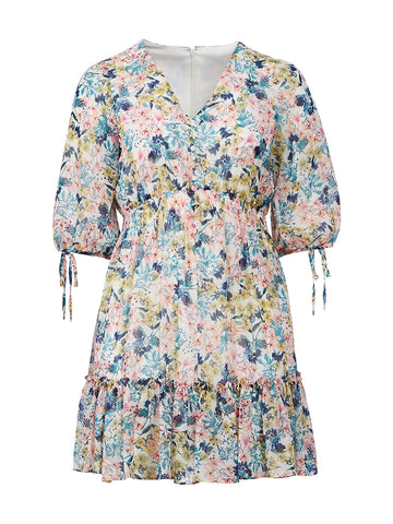 Flounce Detail Spring Florals Dress