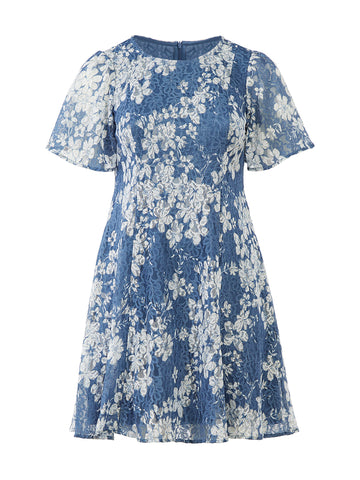 Puff Sleeve Blue Lace Dress