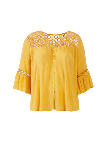Lace Detail Yellow Top