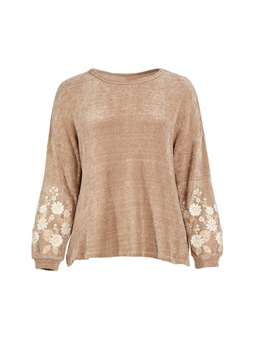 Sleeve Embroidery Mocha Sweater