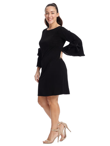 Bow Sleeve A-Line Dress