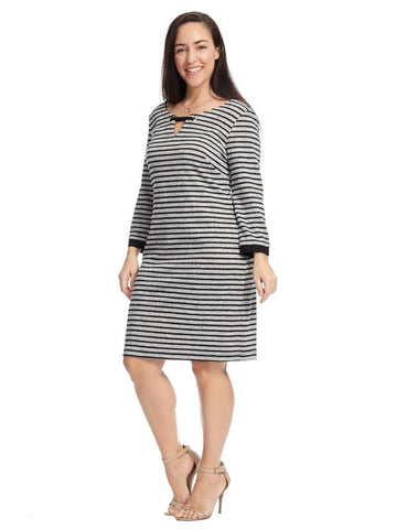Black And Grey Striped Shift Dress
