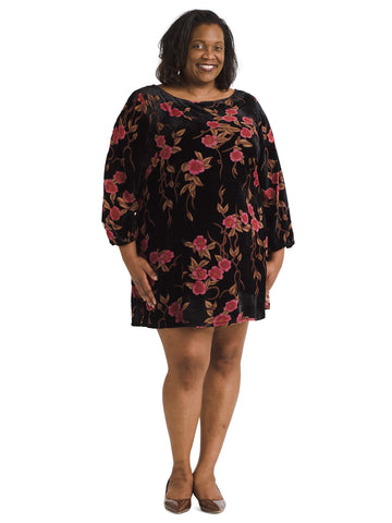 Velvet Burnout Floral Shift Dress