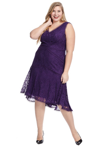 Sleeveless Purple Lace Fit and Flare Dress
