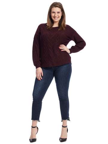 Cabled Plum Pullover Sweater