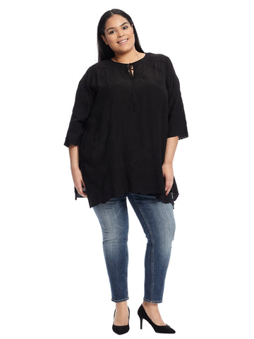 Tonal Black Embroidered Antik Lace Flare Tunic