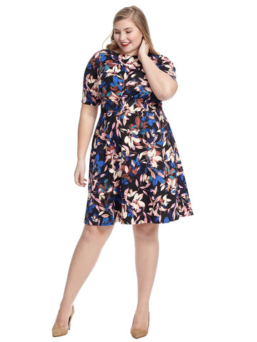Floral Ponte Fit And Flare Dress