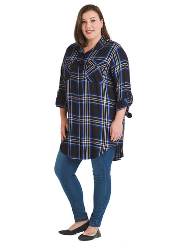 Plaid Main Street Boyfriend Tunic