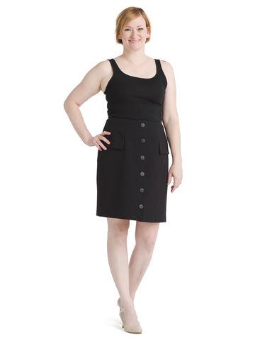 Button Front Black Skirt